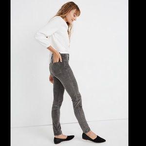 "Madewell 10"" High rise Corduroy skinny jeans"